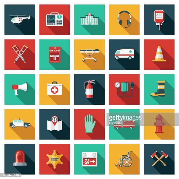 緊急サービスとレスキュー アイコン セット - 警報機点のイラスト素材/クリップアート素材/マンガ素材/アイコン素材