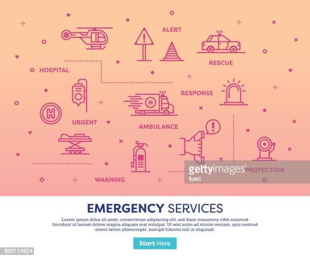 ilustrações, clipart, desenhos animados e ícones de conceito de serviços de emergência - serviço de emergência e resgate