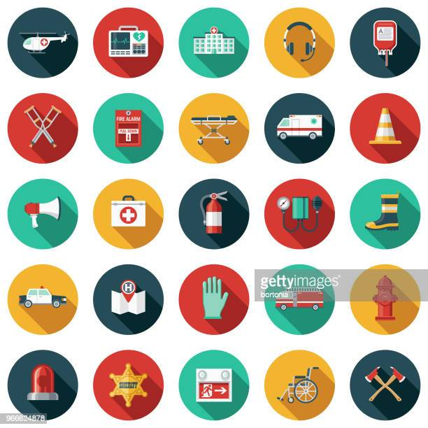 emergency services flat design icon set with side shadow - emergencies and disasters stock illustrations