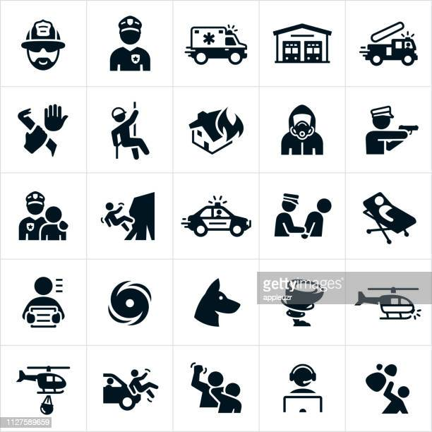 emergency services icons - arrest stock illustrations, clip art, cartoons, & icons