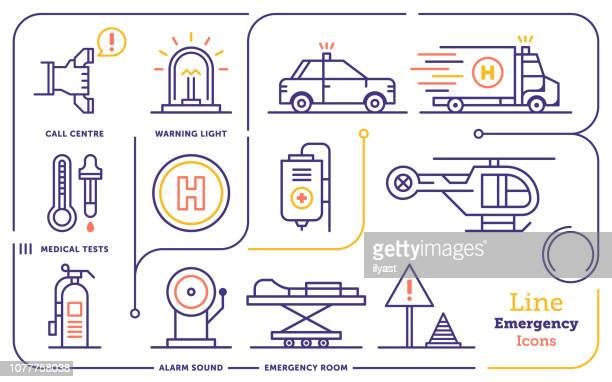 emergency services line icon set - accidents and disasters stock illustrations
