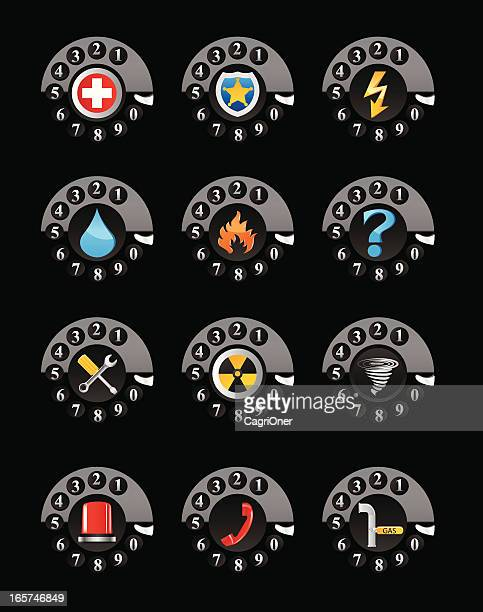 emergency services phone numbers icon set - water treatment stock illustrations, clip art, cartoons, & icons