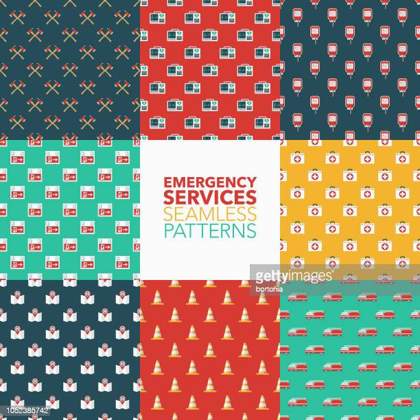emergency services seamless pattern set - blood bag stock illustrations, clip art, cartoons, & icons