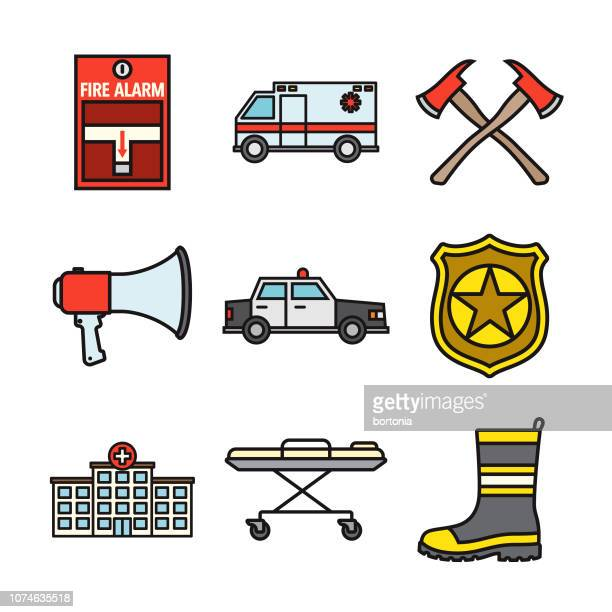 Emergency Services Thin Line Icon Set