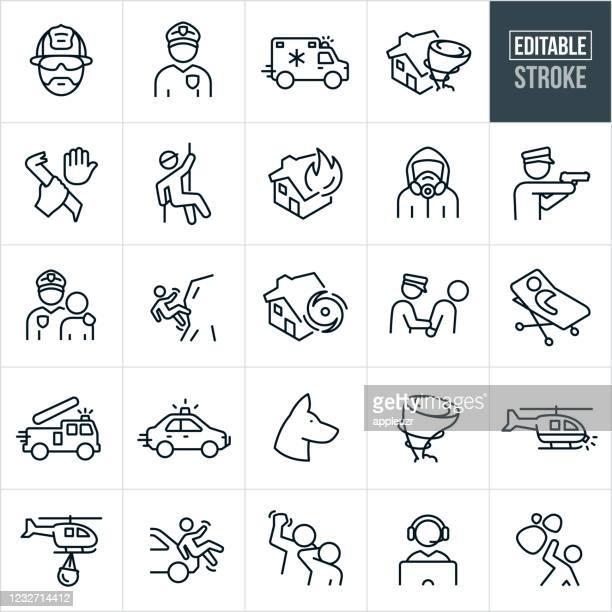 emergency services thin line icons - editable stroke - rettung stock-grafiken, -clipart, -cartoons und -symbole