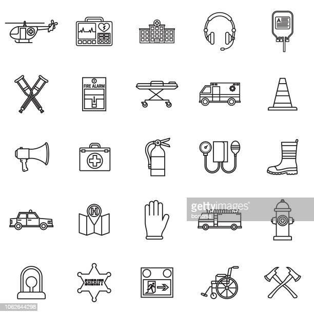 ilustrações de stock, clip art, desenhos animados e ícones de emergency services thin line outline icon set - carro de bombeiro