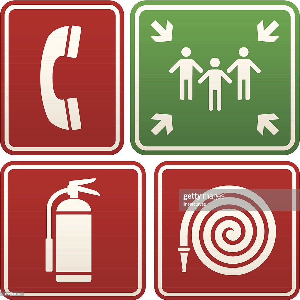 Emergency Signs Telephone Meeting Point Fire Extinguisher And Hose