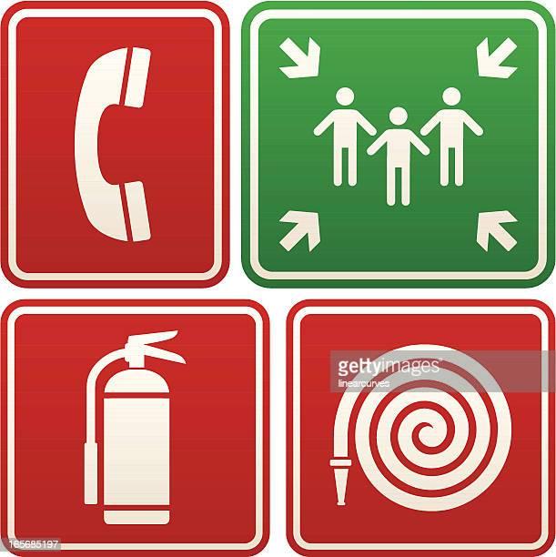 Señalización de emergencia: Teléfono, punto de reunión, extintor y manguera