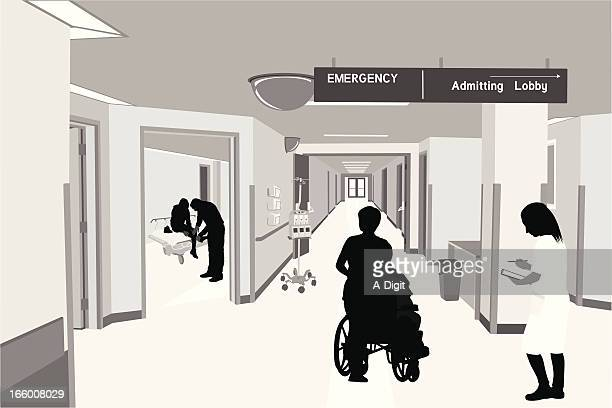 emergency staff - corridor stock illustrations, clip art, cartoons, & icons