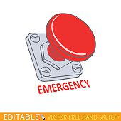 Emergency stop button. Editable vector illustration in linear style