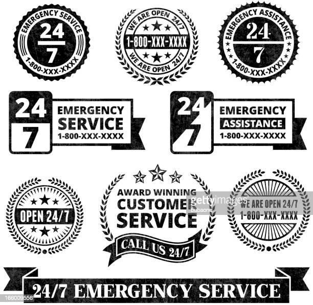 ilustrações, clipart, desenhos animados e ícones de apoio de emergência 24 7 medalhas preto e branco grunge conjunto - serviço de emergência e resgate