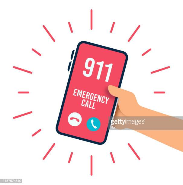 emergency telephone call - using phone stock illustrations