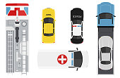 Emergency transport set from above, top view. Cute cartoon cars with shadows. Police, ambulance, taxi, fire car, wrecker. Modern urban vehicles. Realistic design. Flat style vector illustration.