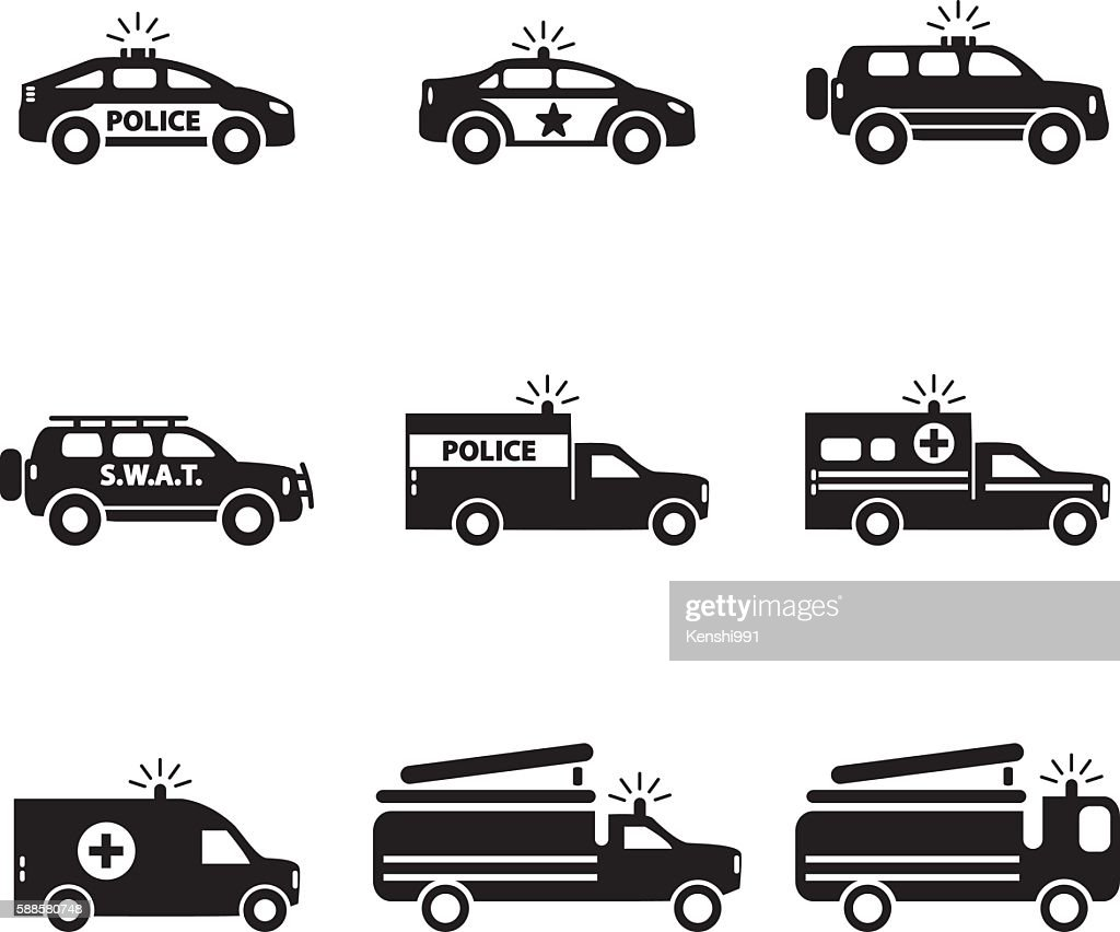 Emergency transportation icon set. Vector illustration.