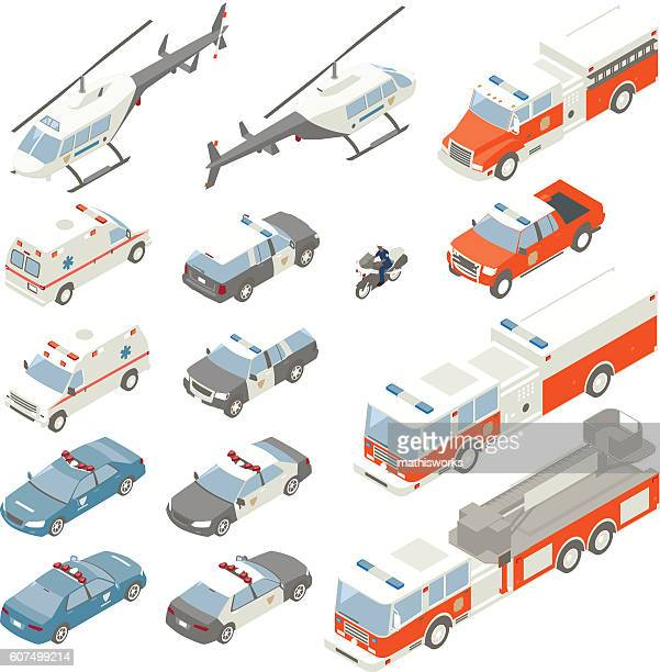 emergency vehicle spot illustrations - mathisworks vehicles stock illustrations