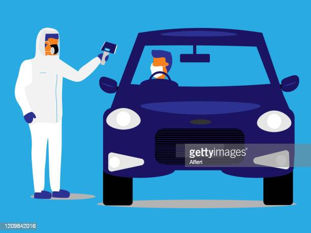 emergency worker takes the temperature of a driver at a drive-through testing facility. - drive through stock illustrations