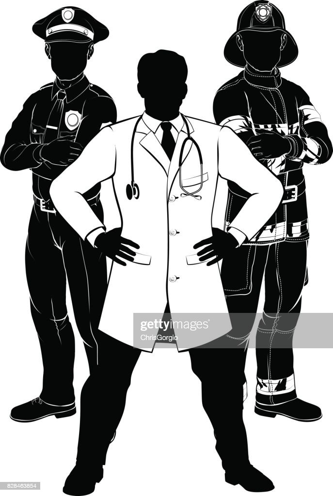 Emergency Workers Team Silhouettes