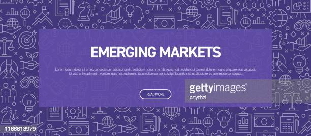 新興市場のコンセプト - ビジネス関連のシームレスパターンウェブバナー - 出現点のイラスト素材/クリップアート素材/マンガ素材/アイコン素材