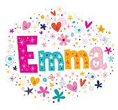 Emma female name decorative lettering type design