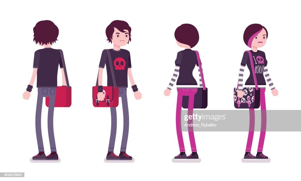 Emo boy and girl in standing pose