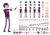 Emo boy character creation set