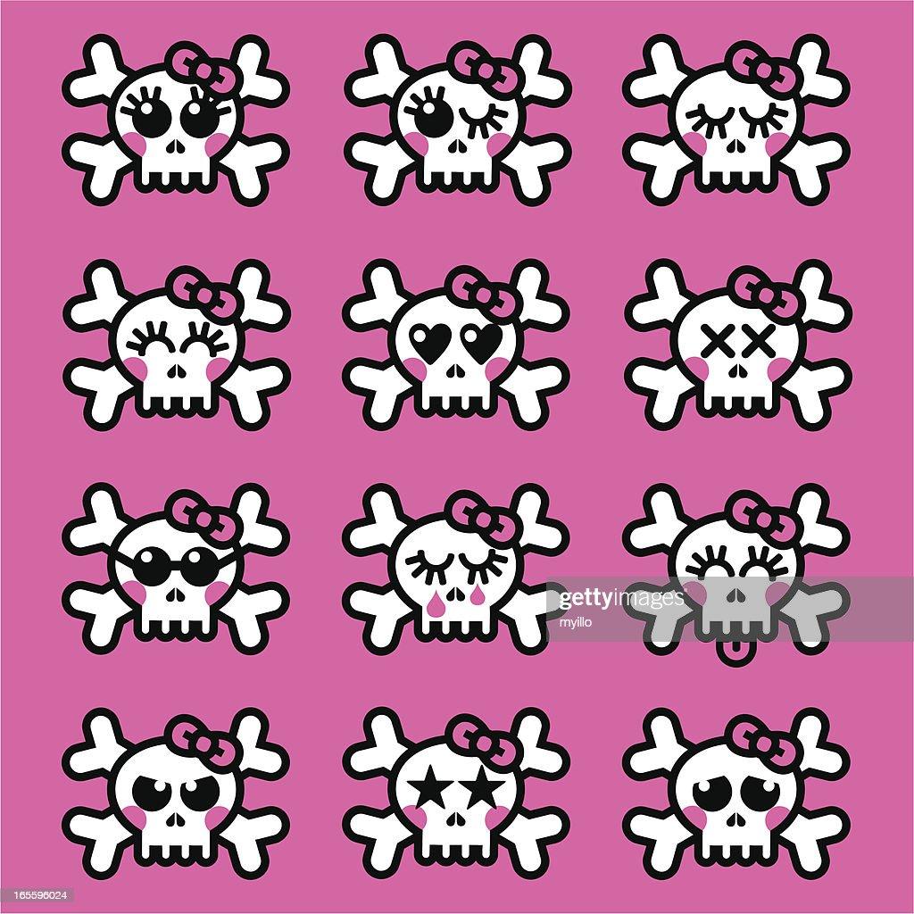 Emo girl  skull emoticons