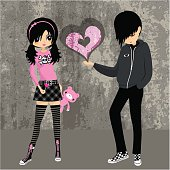 Emo love ♥ teenager girl lolita cosplay illustration vector