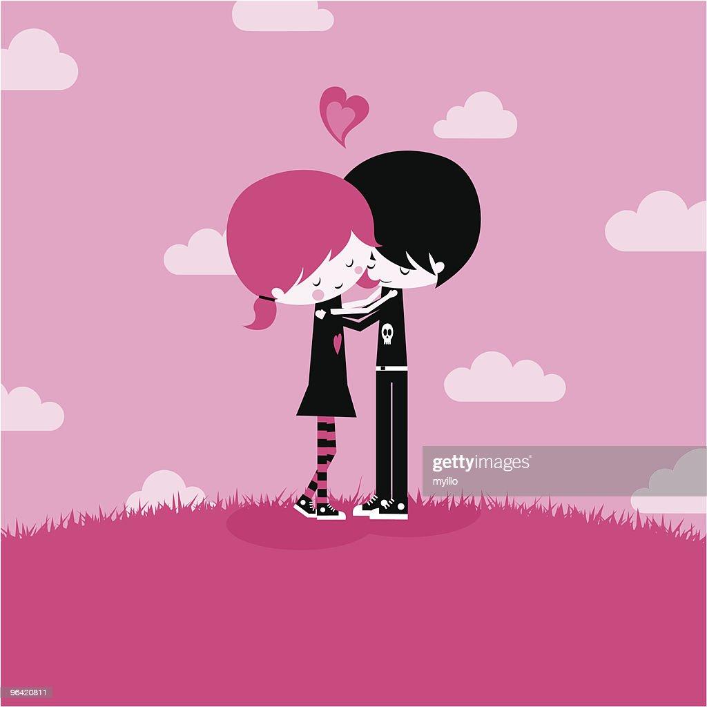 Emo love,together kawaii pink illustration vector