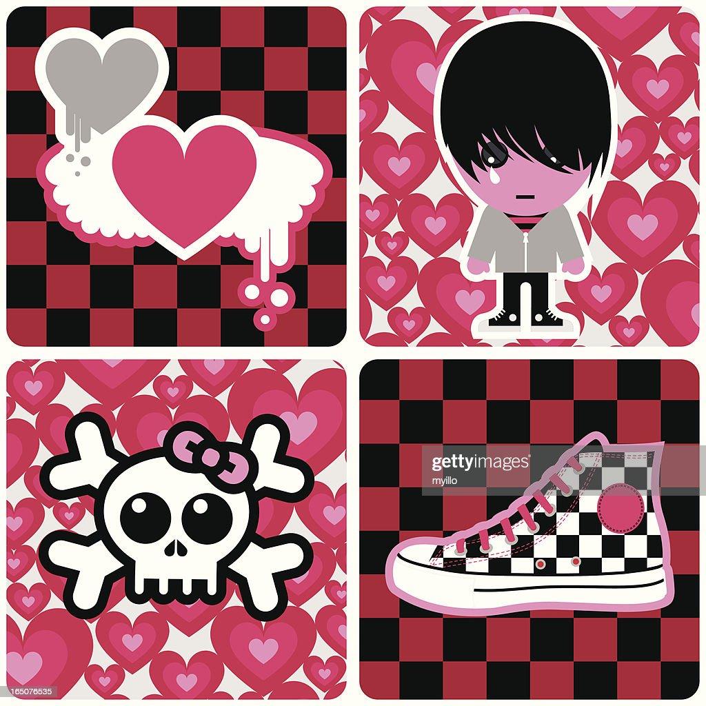Emo signs. pink black love