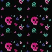 emo style seamless pattern