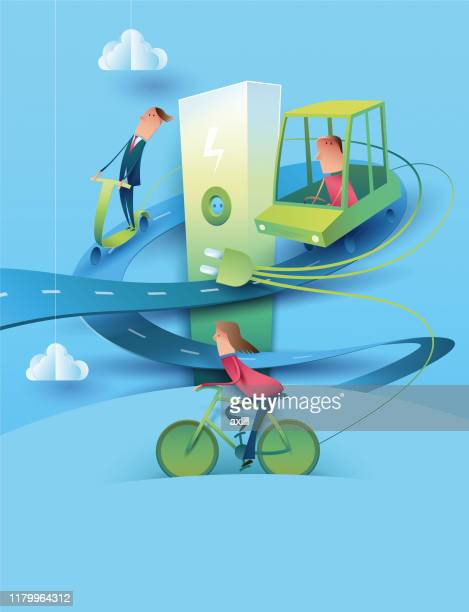e-mobility - electric vehicle charging station stock illustrations