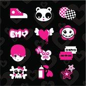 Emoicons love emo pink black set teens vector sticker