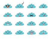 Emoji clouds vector. Cute smily clouds with faces vector set