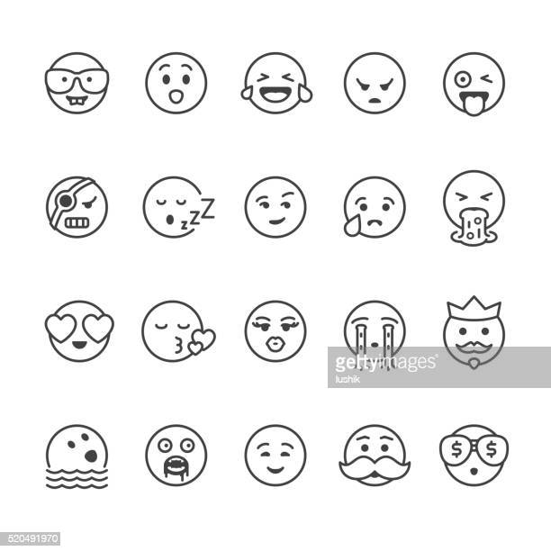 illustrations, cliparts, dessins animés et icônes de icônes vectorielles emoji visage - vomit