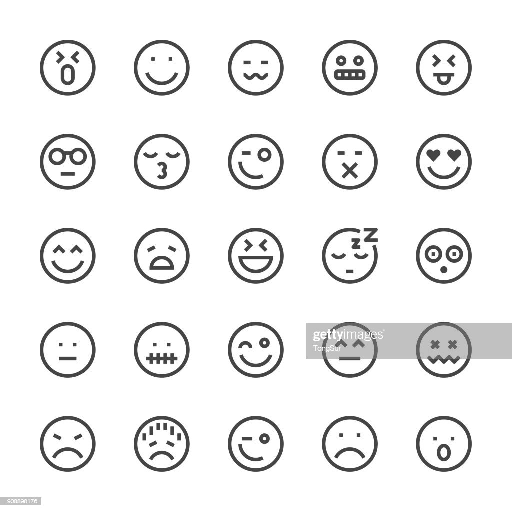 Emoji Icon Icons - MediumX Linie : Stock-Illustration