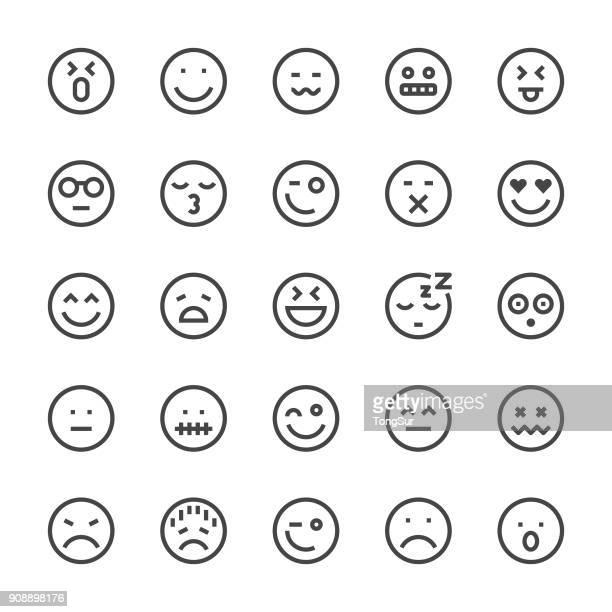 emoji icon icons - mediumx line - fun stock illustrations, clip art, cartoons, & icons