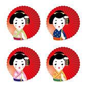 Emoji icon set -  Geisha