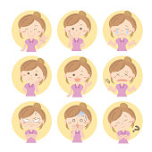Emoji icon set - woman
