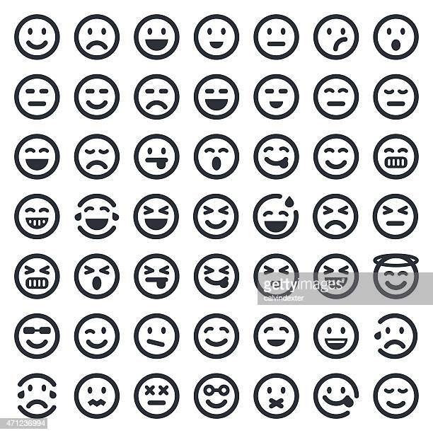 emoji icons set 1 | 49ers series - smiling stock illustrations