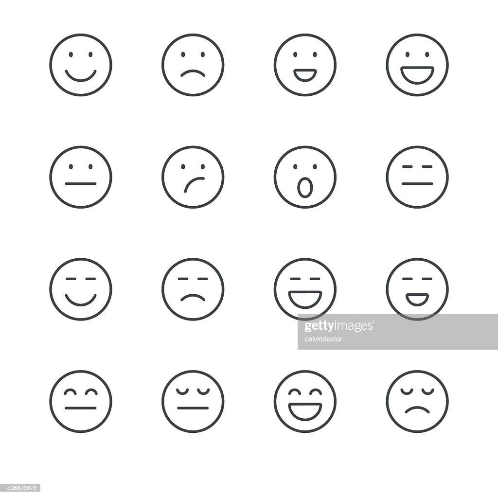 Emoji Icons set 1 | Black Line series : stock vector
