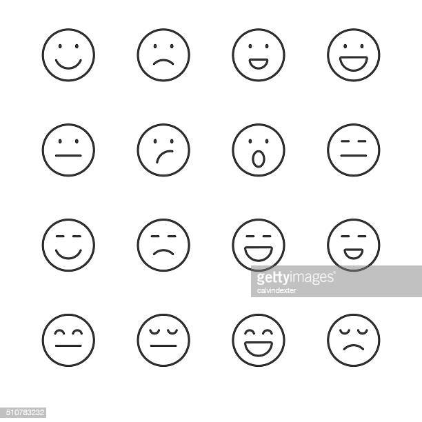 emoji icons set 1 | black line series - smiling stock illustrations