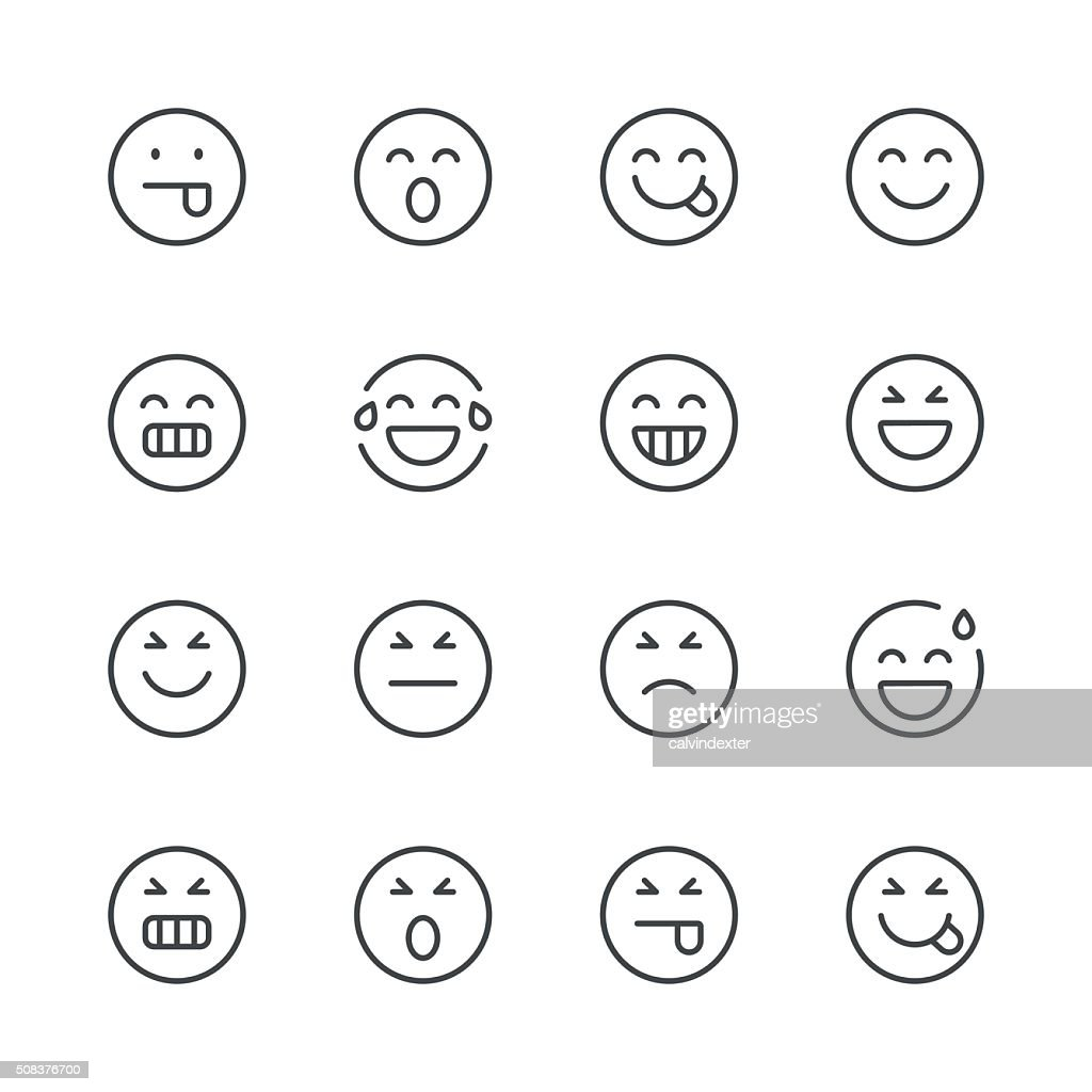 Emoji Icons set 2 | Black Line series : stock vector