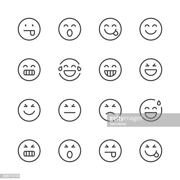 emoji icons set 2 | black line series - laughing stock illustrations, clip art, cartoons, & icons