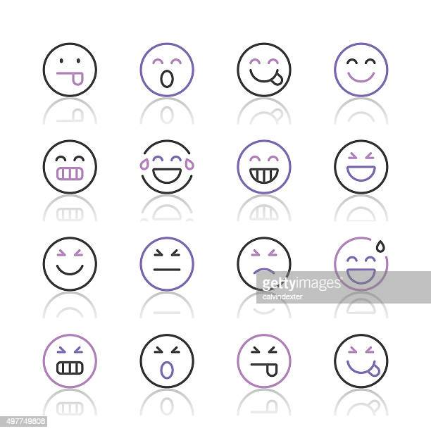 Emoji Icons set 2 | Purple Line series