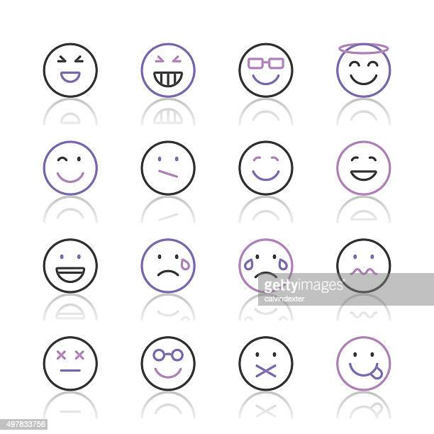 Emoji Icons set 3 | Purple Line series
