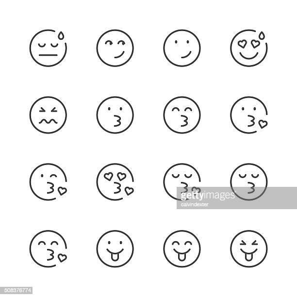 Emoji-Icons Satz 5/Schwarz Linie Serie