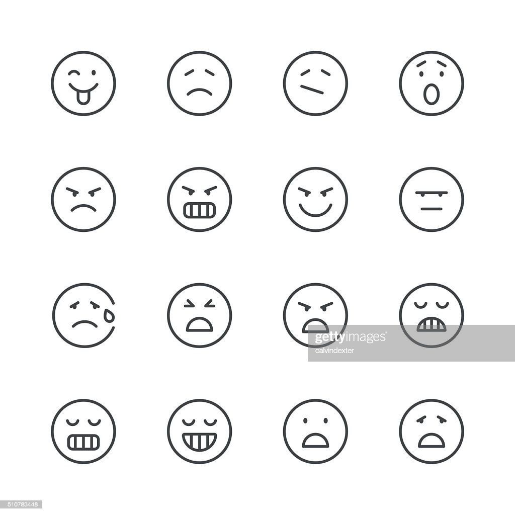 Emoji Icons set 6 | Black Line series