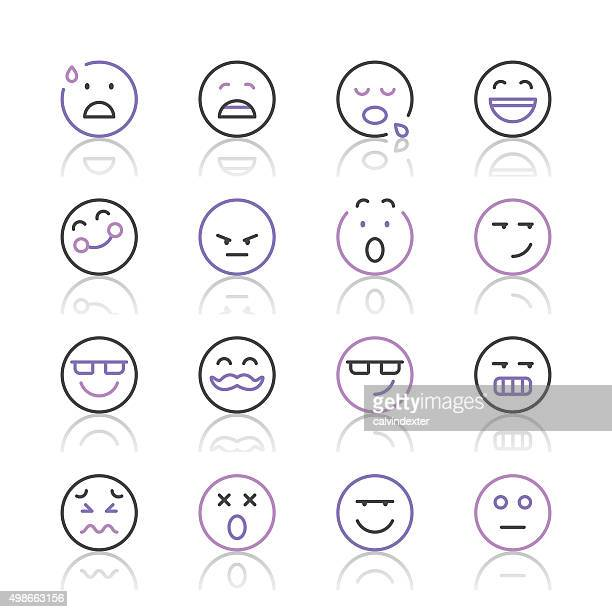 Emoji Icons set 7 | Purple Line series