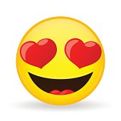 Emoji in love. Emotion of happiness. Amorously smiling emoticon.