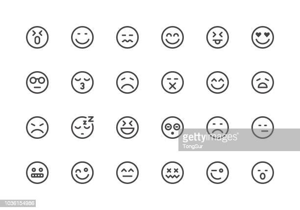 emoji - line icons - tired stock illustrations